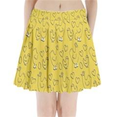 Chicken Chick Pattern Wallpaper Pleated Mini Skirt