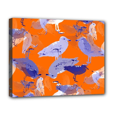 Seagull Gulls Coastal Bird Bird Canvas 14  X 11