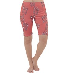 Butterfly Pink Pattern Wallpaper Cropped Leggings