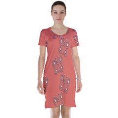 Butterfly Pink Pattern Wallpaper Short Sleeve Nightdress