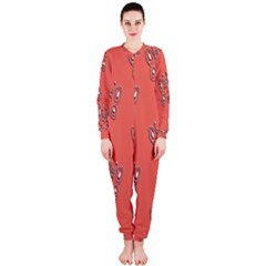Butterfly Pink Pattern Wallpaper Onepiece Jumpsuit (ladies)