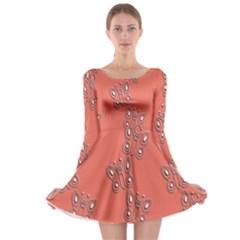 Butterfly Pink Pattern Wallpaper Long Sleeve Skater Dress