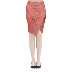 Butterfly Pink Pattern Wallpaper Midi Wrap Pencil Skirt