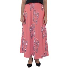 Butterfly Pink Pattern Wallpaper Flared Maxi Skirt