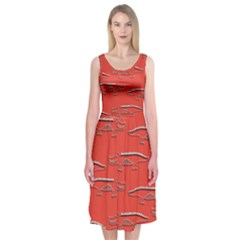 Crocodile Alligator Pattern Midi Sleeveless Dress