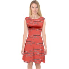 Crocodile Alligator Pattern Capsleeve Midi Dress