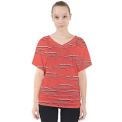 Crocodile Alligator Pattern V Neck Dolman Drape Top