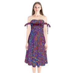 Modern Abstract 45a Shoulder Tie Bardot Midi Dress
