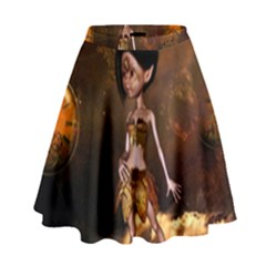 Steampunk, Cute Little Steampunk Girl In The Night With Clocks High Waist Skirt by FantasyWorld7