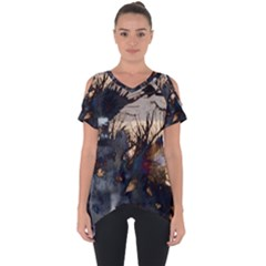 Texture Background Style  Cut Out Side Drop Tee