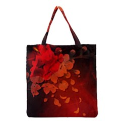 Cherry Blossom, Red Colors Grocery Tote Bag by FantasyWorld7