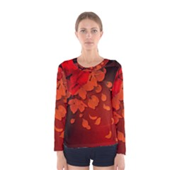 Cherry Blossom, Red Colors Women s Long Sleeve Tee by FantasyWorld7