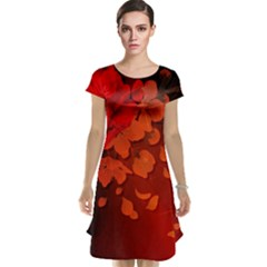 Cherry Blossom, Red Colors Cap Sleeve Nightdress by FantasyWorld7