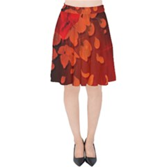 Cherry Blossom, Red Colors Velvet High Waist Skirt by FantasyWorld7