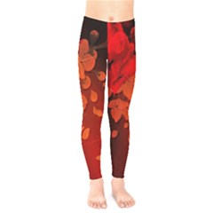 Cherry Blossom, Red Colors Kids  Legging by FantasyWorld7