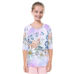 Snail And Waterlily, Watercolor Kids  Quarter Sleeve Raglan Tee by FantasyWorld7