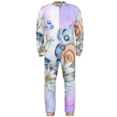 Snail And Waterlily, Watercolor Onepiece Jumpsuit (men)  by FantasyWorld7