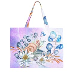Snail And Waterlily, Watercolor Zipper Large Tote Bag by FantasyWorld7