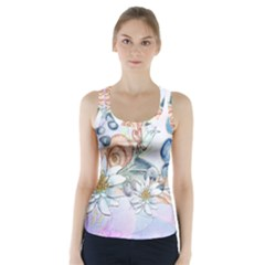 Snail And Waterlily, Watercolor Racer Back Sports Top by FantasyWorld7