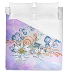 Snail And Waterlily, Watercolor Duvet Cover (queen Size) by FantasyWorld7