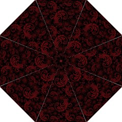 Dark Red Flourish Folding Umbrellas by gatterwe