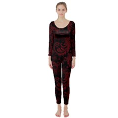 Dark Red Flourish Long Sleeve Catsuit by gatterwe