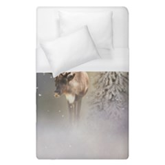 Santa Claus Reindeer In The Snow Duvet Cover (single Size) by gatterwe