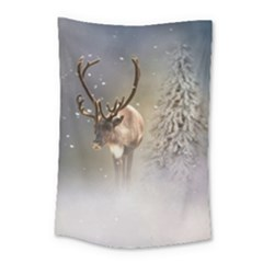 Santa Claus Reindeer In The Snow Small Tapestry by gatterwe