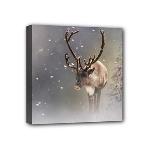 Santa Claus Reindeer In The Snow Mini Canvas 4  X 4  (stretched) by gatterwe