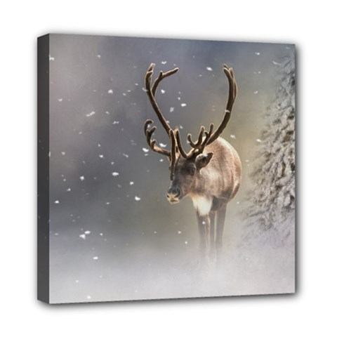 Santa Claus Reindeer In The Snow Mini Canvas 8  X 8  (stretched) by gatterwe