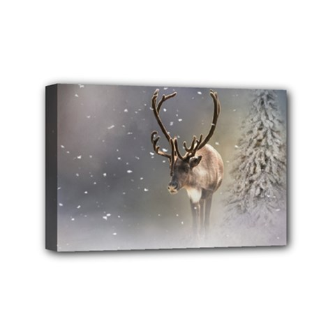 Santa Claus Reindeer In The Snow Mini Canvas 6  X 4  (stretched) by gatterwe