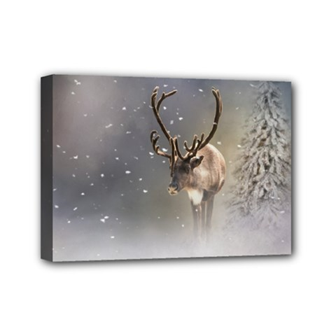 Santa Claus Reindeer In The Snow Mini Canvas 7  X 5  (stretched) by gatterwe