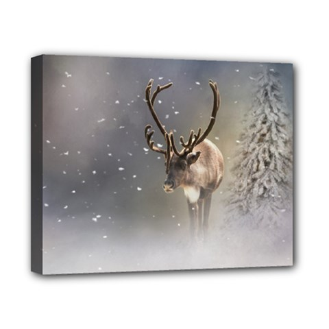 Santa Claus Reindeer In The Snow Canvas 10  X 8  (stretched) by gatterwe