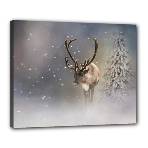 Santa Claus Reindeer In The Snow Canvas 20  X 16  (stretched) by gatterwe