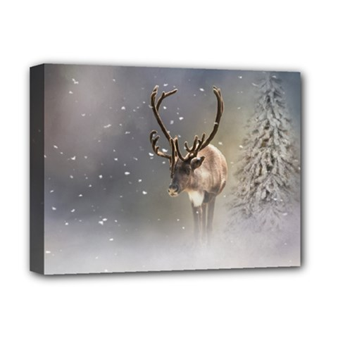 Santa Claus Reindeer In The Snow Deluxe Canvas 16  X 12  (stretched)  by gatterwe