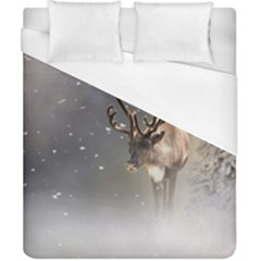Santa Claus Reindeer In The Snow Duvet Cover (california King Size) by gatterwe