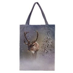 Santa Claus Reindeer In The Snow Classic Tote Bag by gatterwe