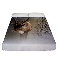 Santa Claus Reindeer In The Snow Fitted Sheet (queen Size) by gatterwe
