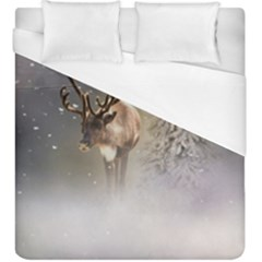 Santa Claus Reindeer In The Snow Duvet Cover (king Size) by gatterwe