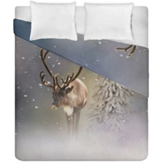 Santa Claus Reindeer In The Snow Duvet Cover Double Side (california King Size) by gatterwe