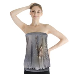 Santa Claus Reindeer In The Snow Strapless Top by gatterwe