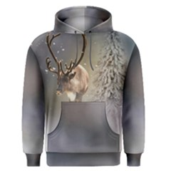Santa Claus Reindeer In The Snow Men s Pullover Hoodie by gatterwe