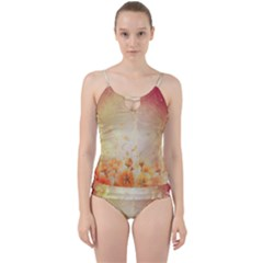 Flower Power, Cherry Blossom Cut Out Top Tankini Set by FantasyWorld7