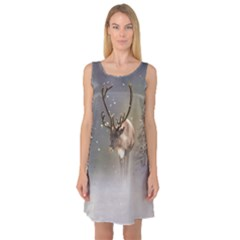 Santa Claus Reindeer In The Snow Sleeveless Satin Nightdress by gatterwe
