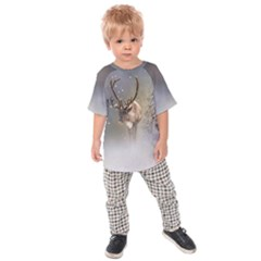 Santa Claus Reindeer In The Snow Kids Raglan Tee by gatterwe