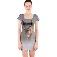 Santa Claus Reindeer In The Snow Short Sleeve Bodycon Dress by gatterwe