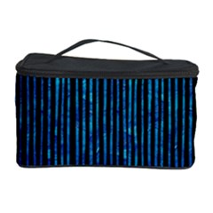 Stylish Abstract Blue Strips Cosmetic Storage Case by gatterwe