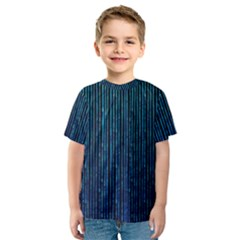 Stylish Abstract Blue Strips Kids  Sport Mesh Tee by gatterwe