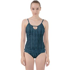 Stylish Frost Blue Strips Cut Out Top Tankini Set