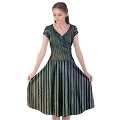 Stylish Rainbow Strips Cap Sleeve Wrap Front Dress